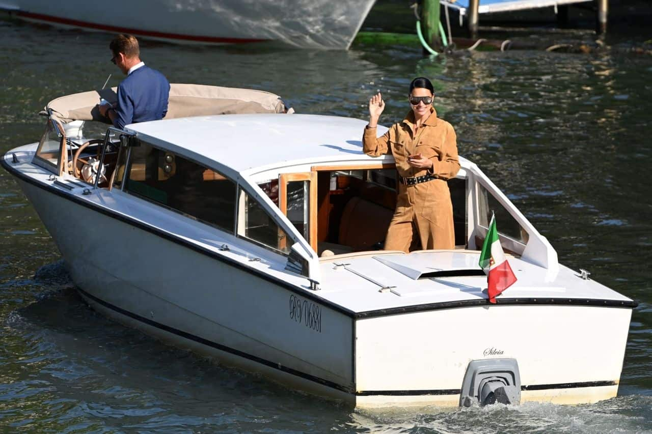 Adriana Lima and Andre Lemmers Arrives at the 78th Venice Film Festival