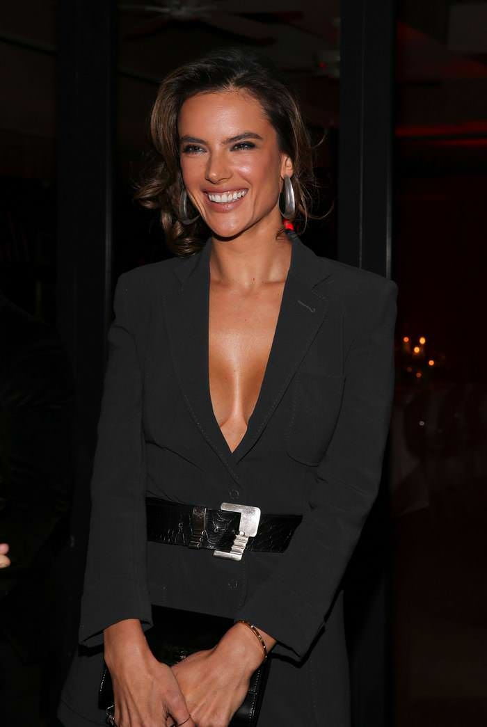 Alessandra Ambrosio in Dark Grey Belted Blazer at the Variety x Armani Dinner