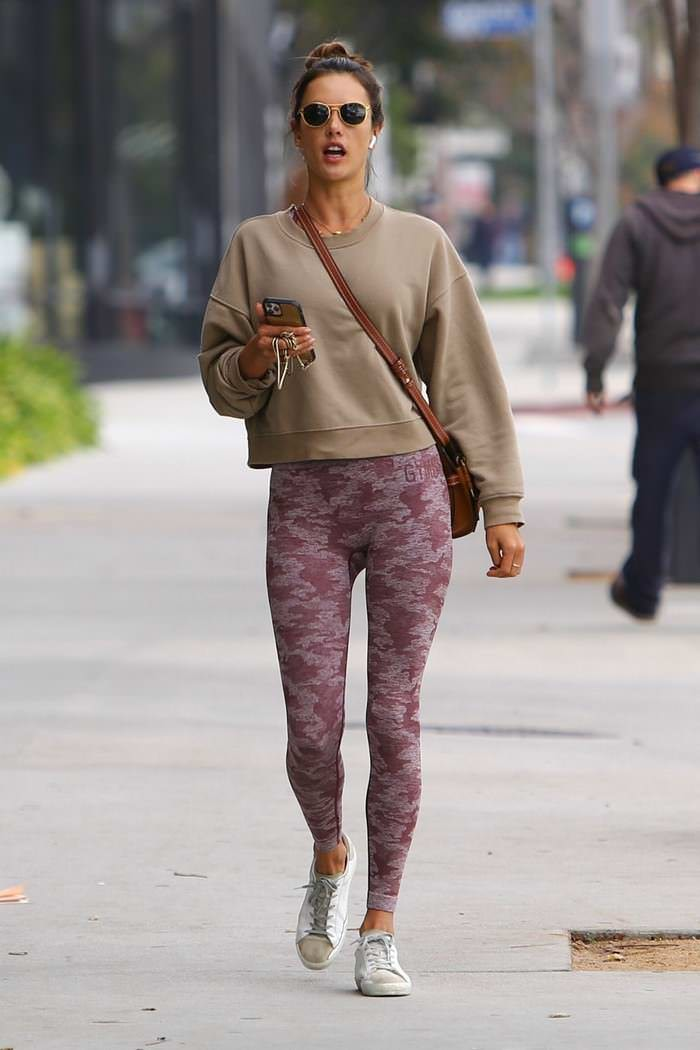 Alessandra Ambrosio in Gymshark Camo Seamless Leggings in LA