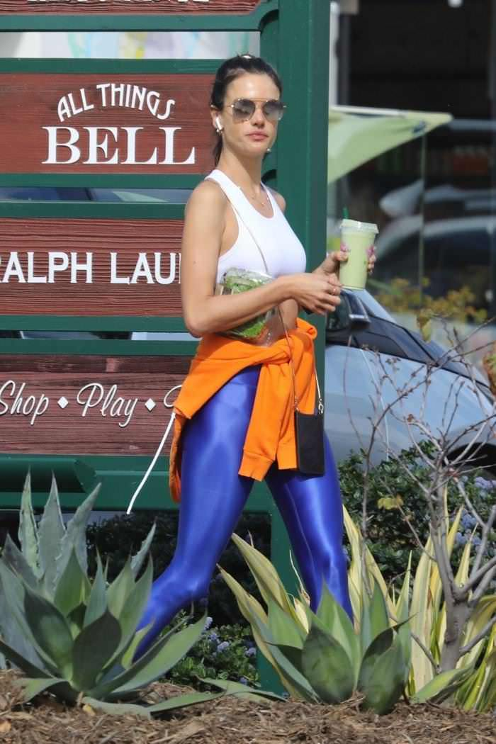 Alessandra Ambrosio in Workout Outfit in Malibu
