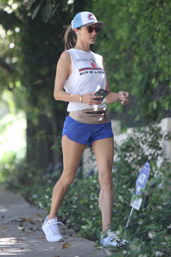 Alessandra Ambrosio Jogging in Short-shorts Around Brentwood