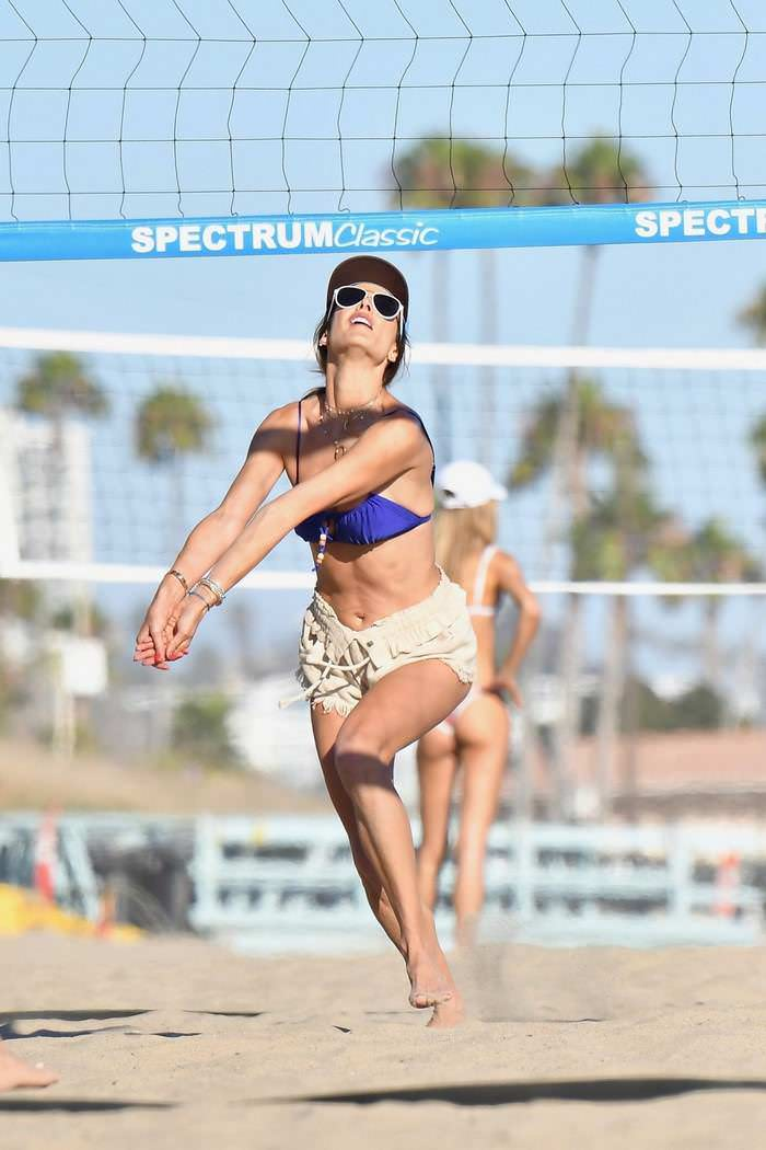 Alessandra Ambrosio Playing Beach Volleyball with Family and Friends