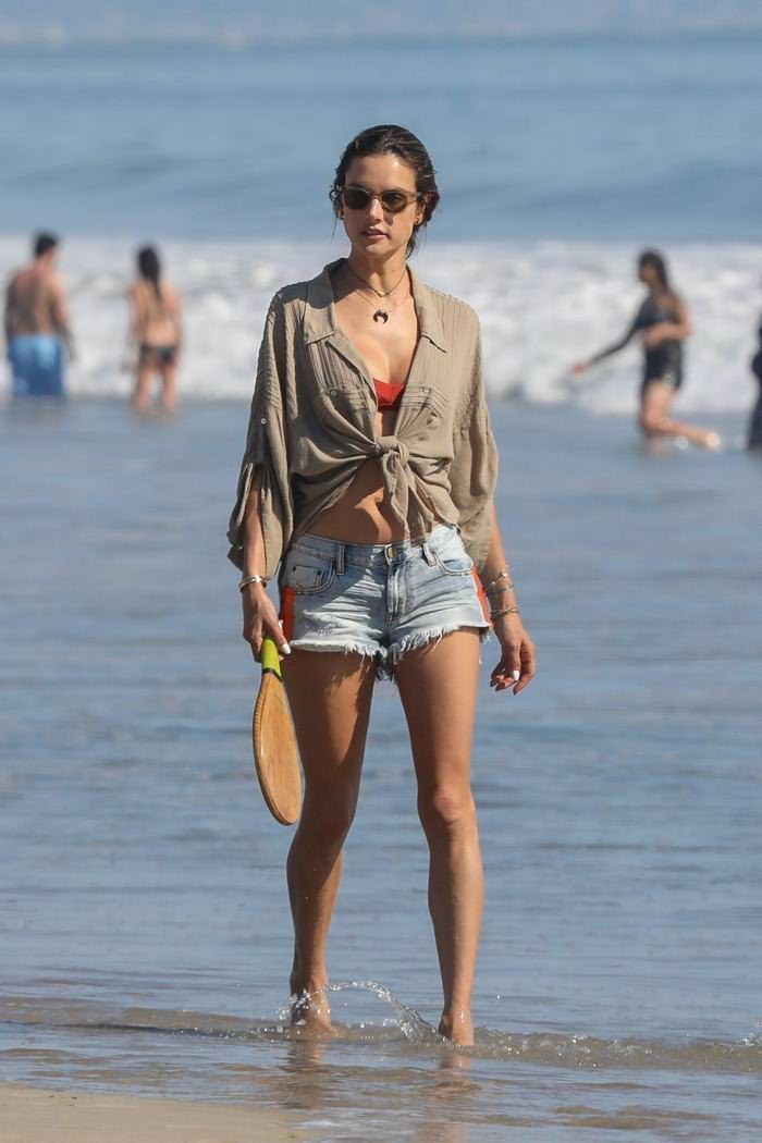Alessandra Ambrosio Plays Paddle Ball on the Beach in Santa Monica