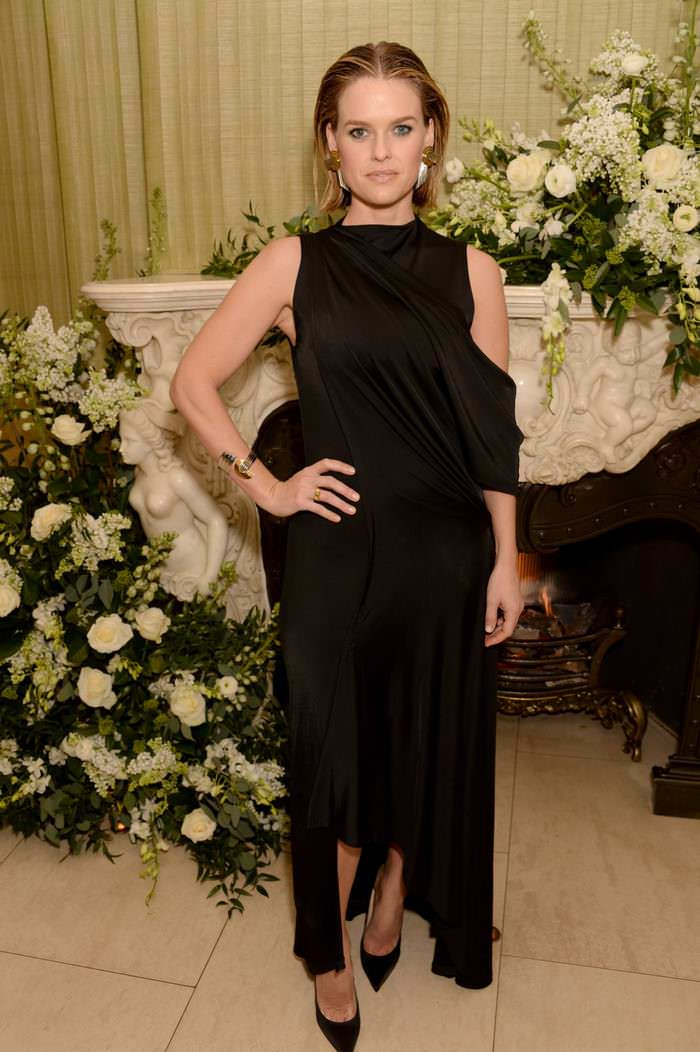 Alice Eve in a Black Evening Gown at British Vogue x Tiffany Afterparty