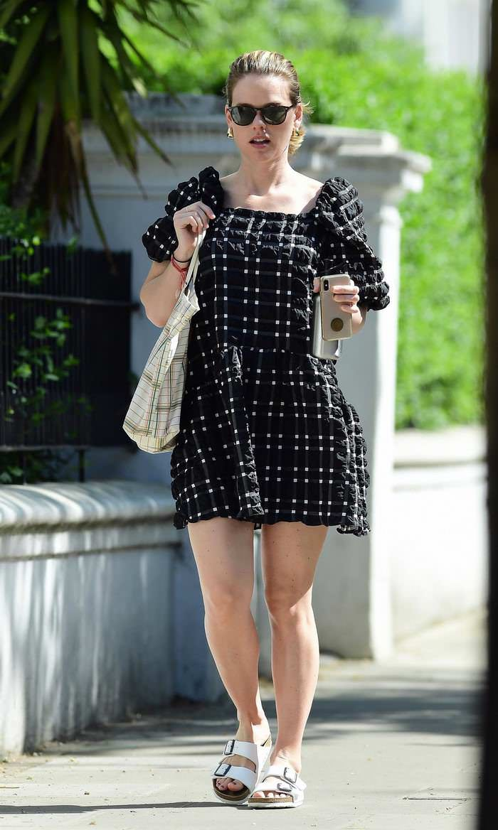 Alice Eve in a Topshop Monochrome Mini-dress Hits The Shops