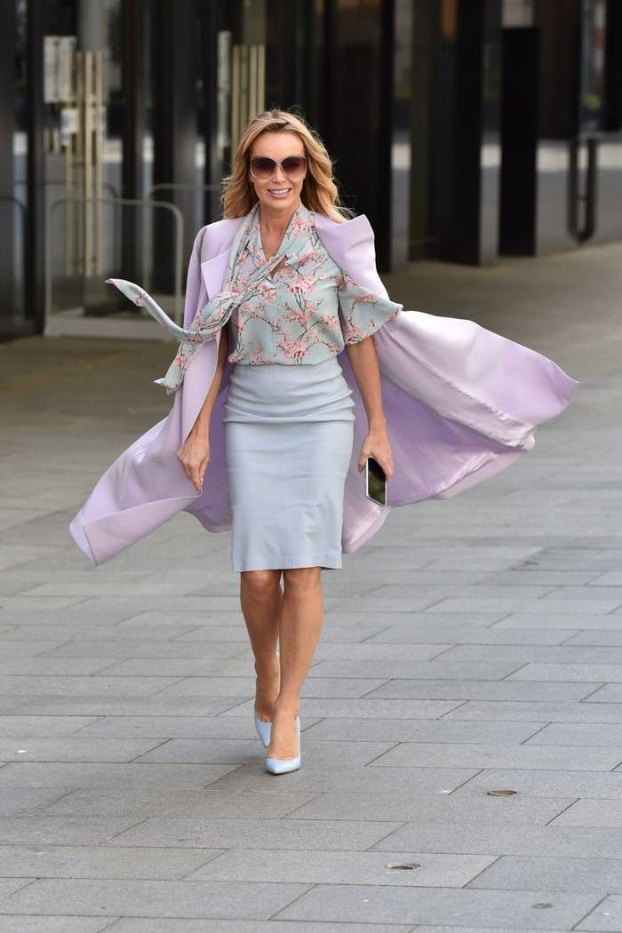 Amanda Holden in a Stunning Pastel Ensemble Going to Work