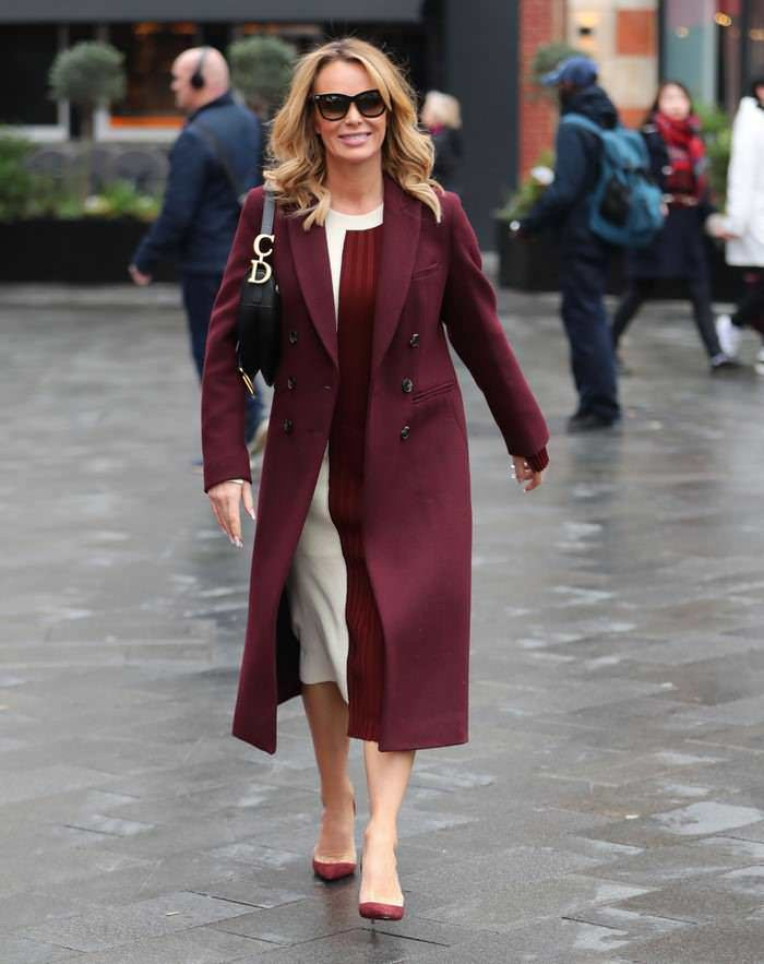 Amanda Holden in Burgundy Coat Leaving Heart Radio Studios in London