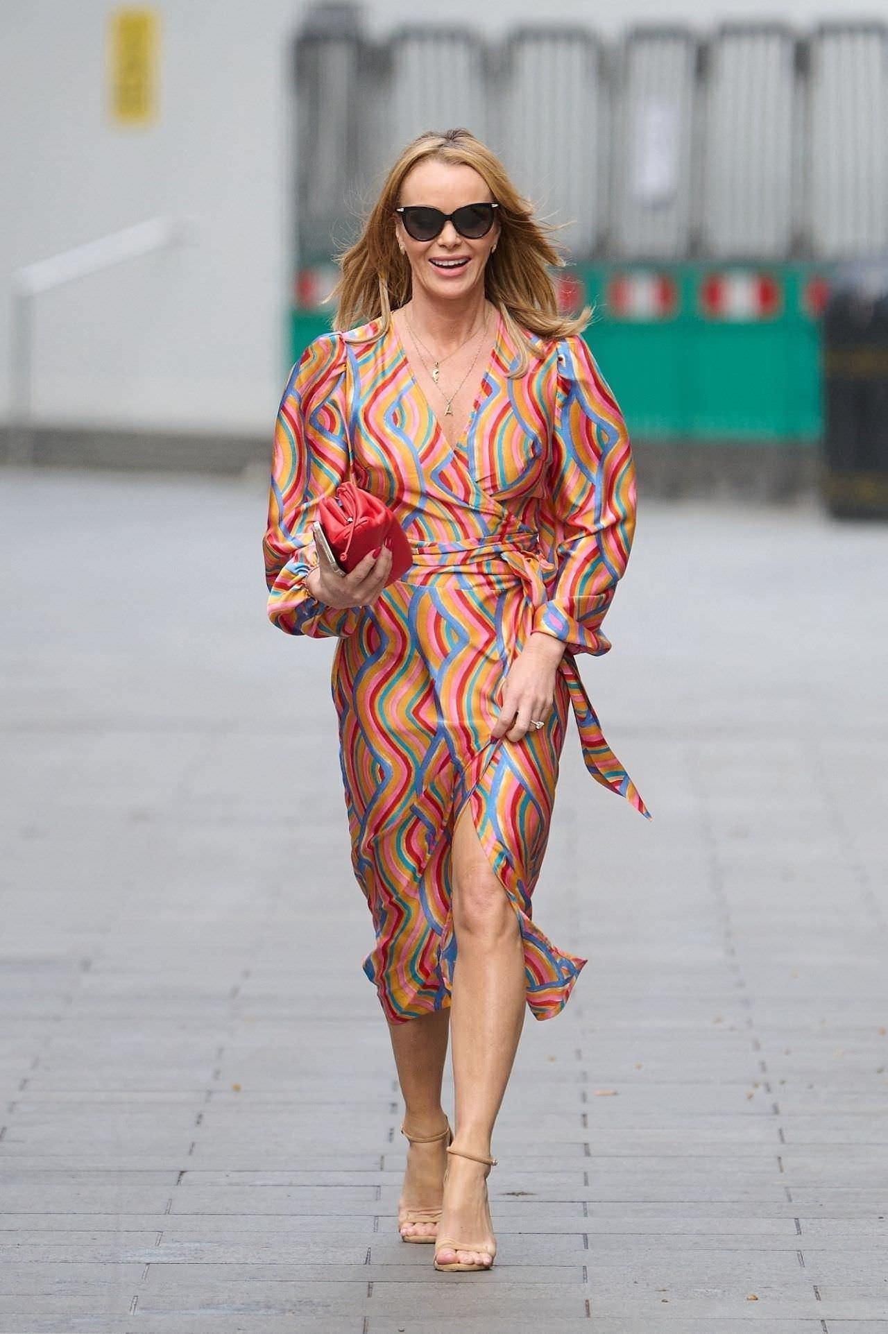 Amanda Holden Out in London in Colorful Dress