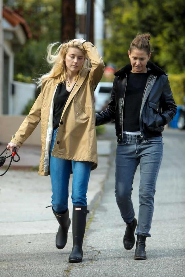 Amber Heard with GF Bianca Butti Walk her Dog in LA