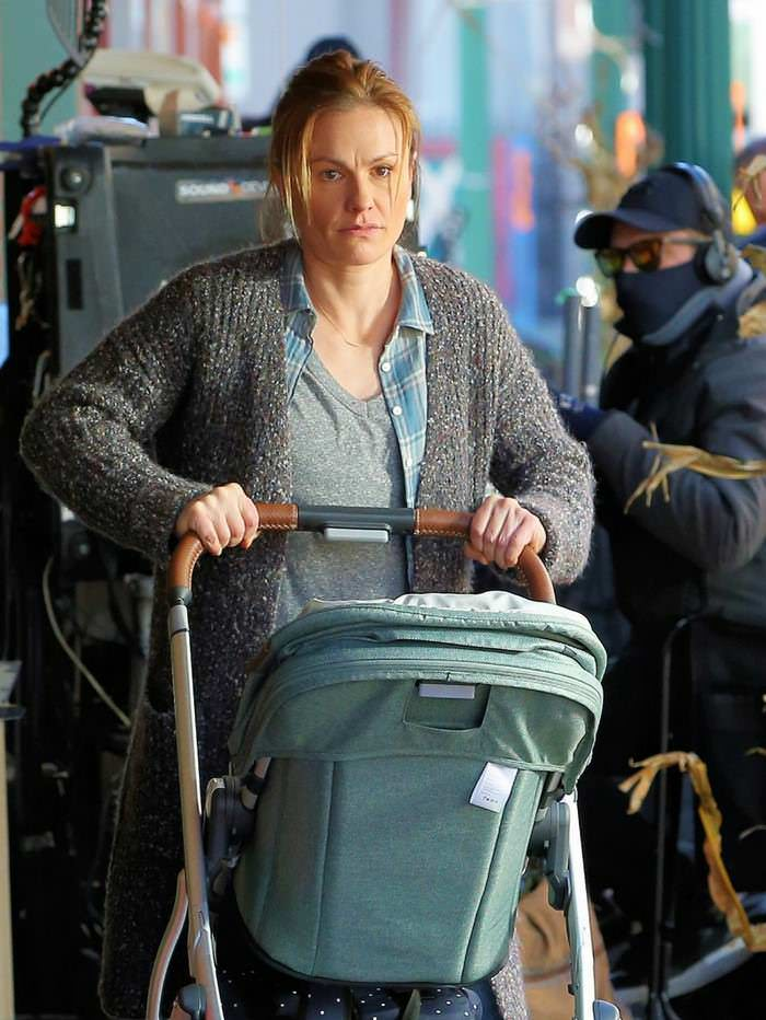 Anna Paquin is Pushing a Stroller as She Films a Scene for the Series Modern Love in NY