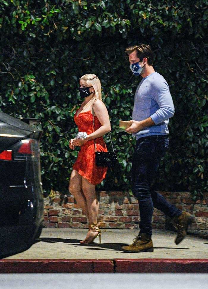 Ariel Winter in a Skimpy Red Dress with Luke Benward After Dinner Date