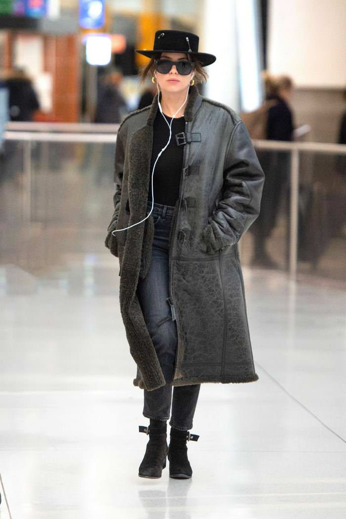 Ashley Benson in Edgy Chic Outfit at JFK Airport in NYC