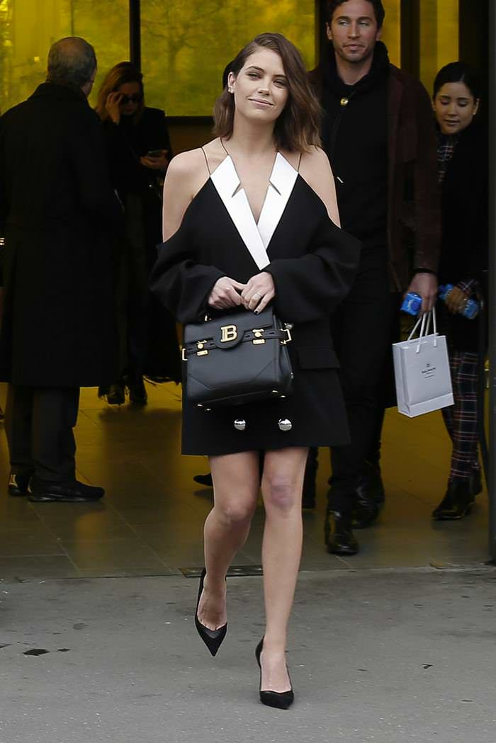 Ashley Benson Leaving the Balmain Show in Paris