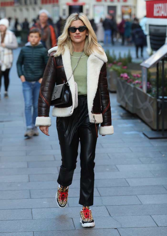 Ashley Roberts Leaving Heart Radio Studio in Wool-lined Jacket