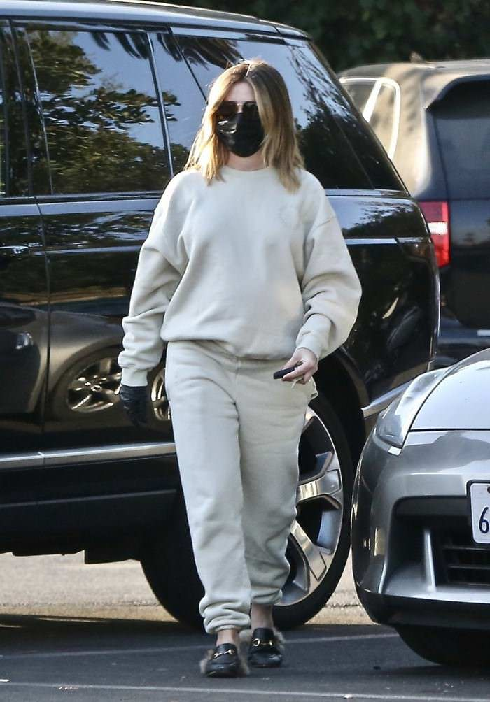 Ashley Tisdale Opts for Beige Sweatsuit and Black Face Mask on a Coffee Run in LA