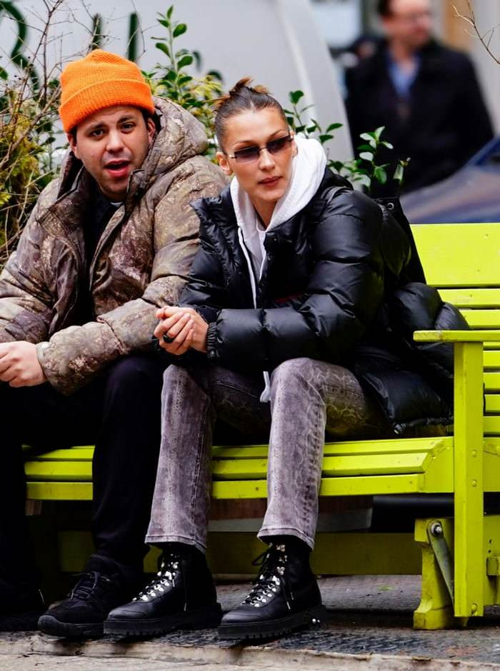 Bella Hadid in Casual Outfit on a Park Bench in New York City with a Friend