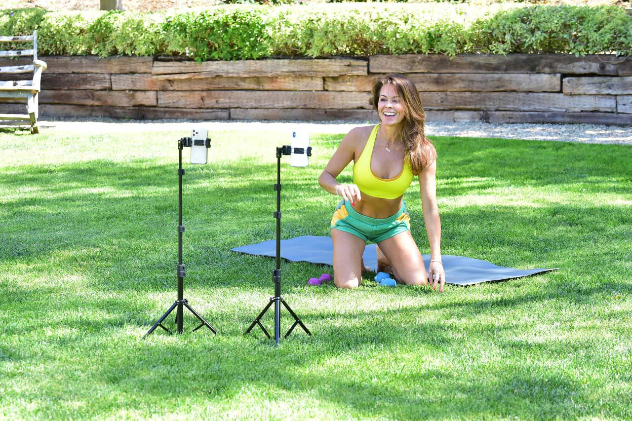 Brooke Burke Workout on Instagram Live in Malibu