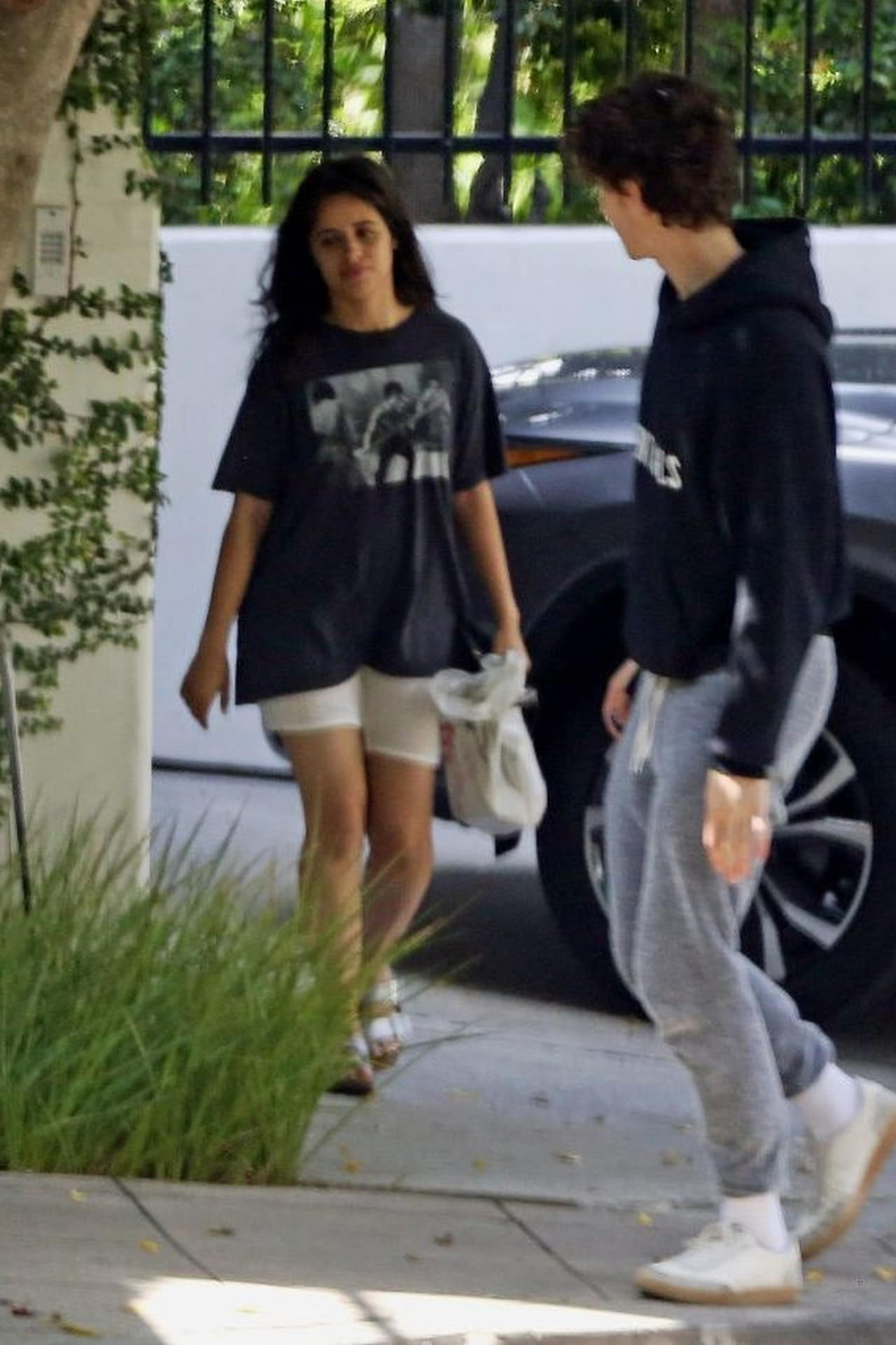 Camila Cabello in a Baggy T-shirt and Shorts Out in LA