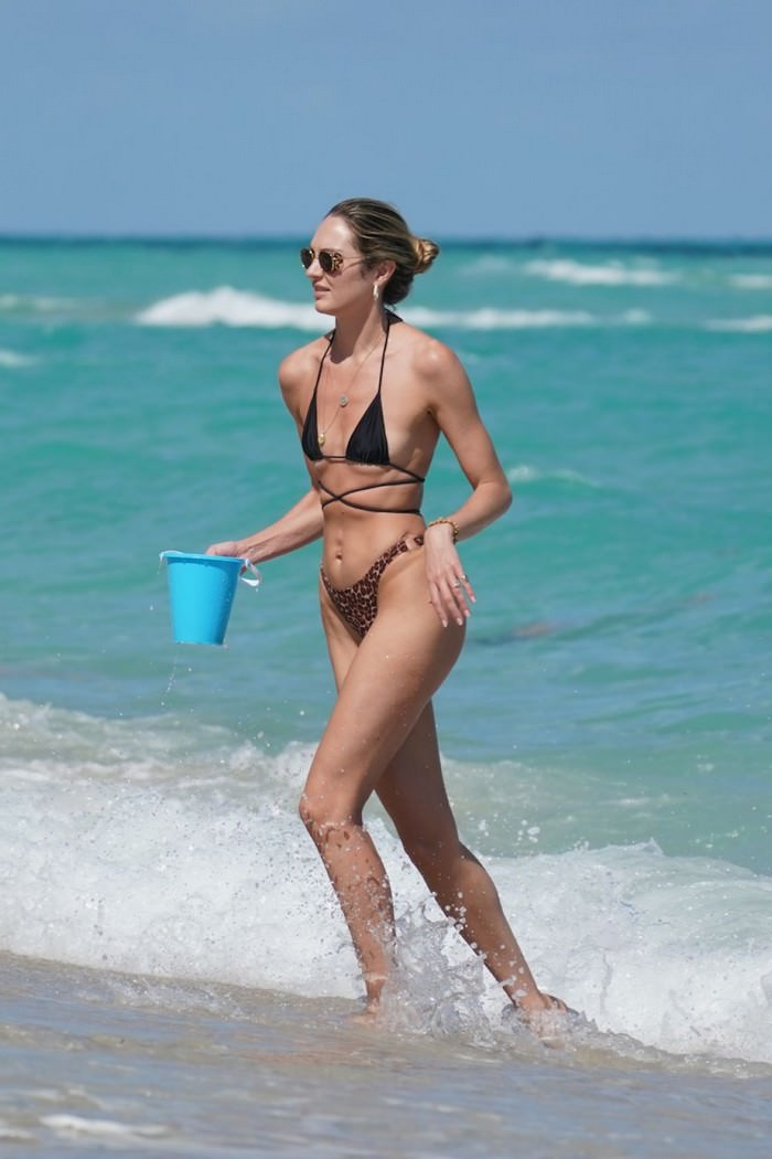 Candice Swanepoel in a Bikini on the Miami Beach