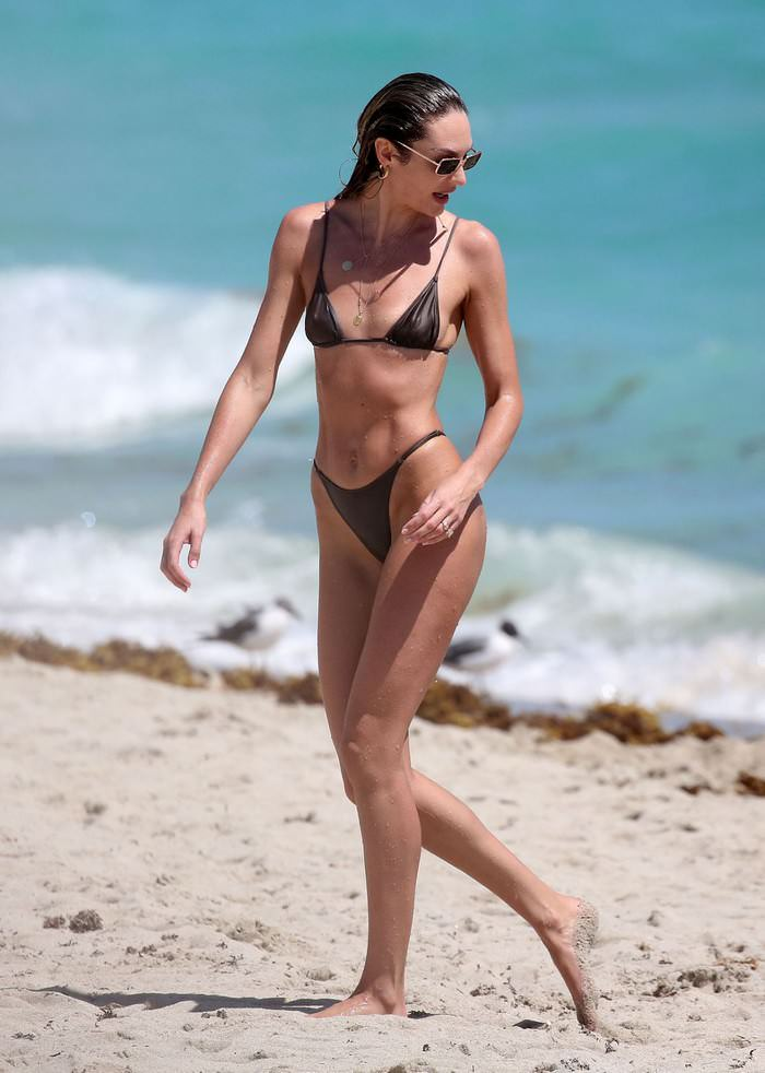 Candice Swanepoel in a Tiny Black Bikini at Beach in Miami