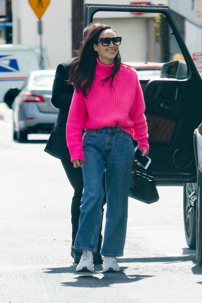Cara Santana Out in Pink Sweater and Jeans