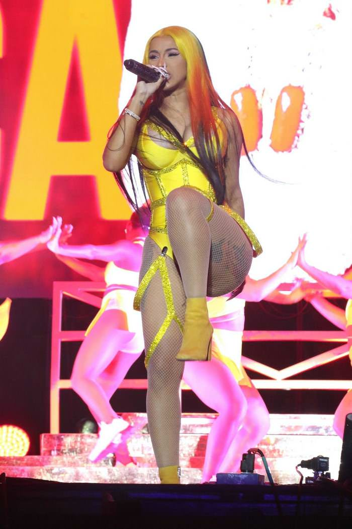 Cardi B in Yellow Outfit at 2020 Viewtopia Music Festival in Miami