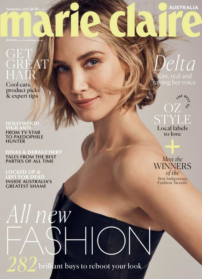 Delta Goodrem in Black Top on the Cover of Marie Claire September 2020