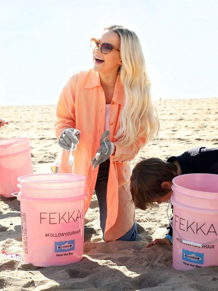 Dove Cameron With FEKKAI Turns the Tide Initiative Beach Cleanup in Santa Monica