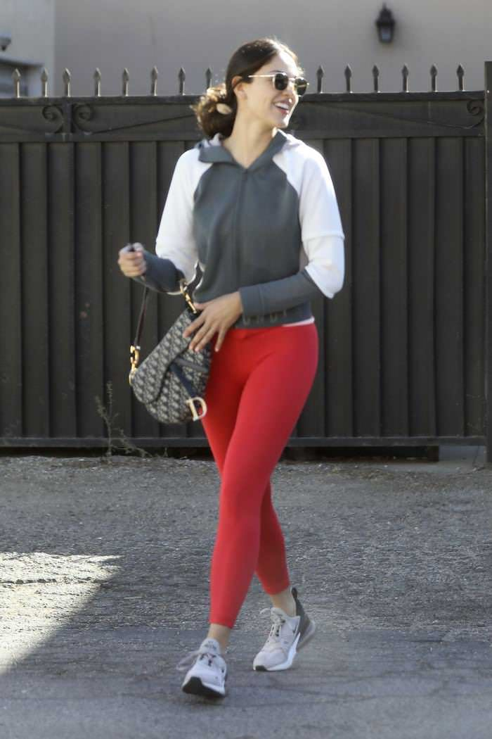 Eiza Gonzalez is Wearing Hot Red Leggings as She Steps Out
