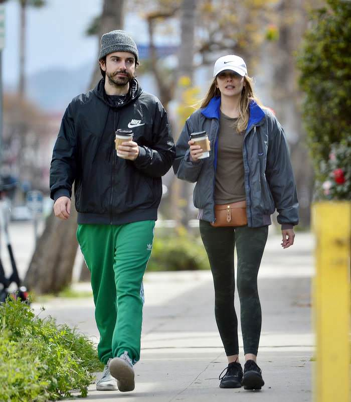 Elizabeth Olsen at Coffee Run with Fiance in LA