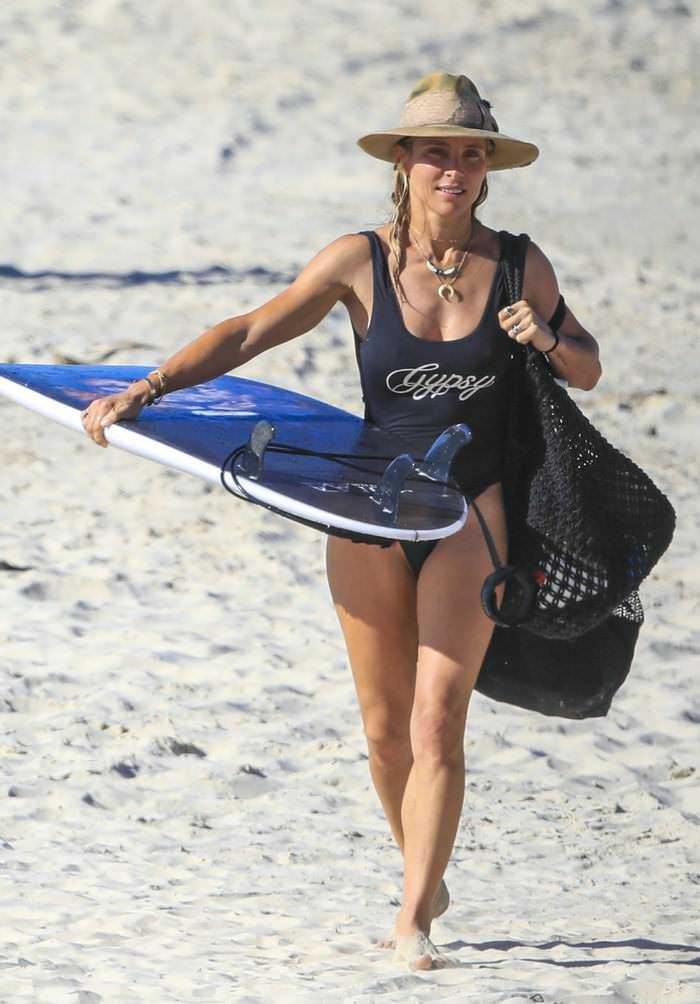 Elsa Pataky in a Black Swimsuit at Byron Bay's Wategos Beach