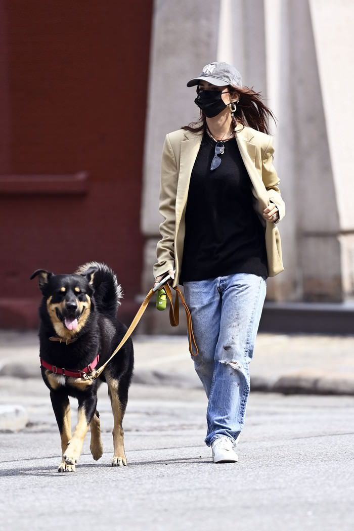 Emily Ratajkowski Embraces Chic Autumn Outfit while Walking her Dog