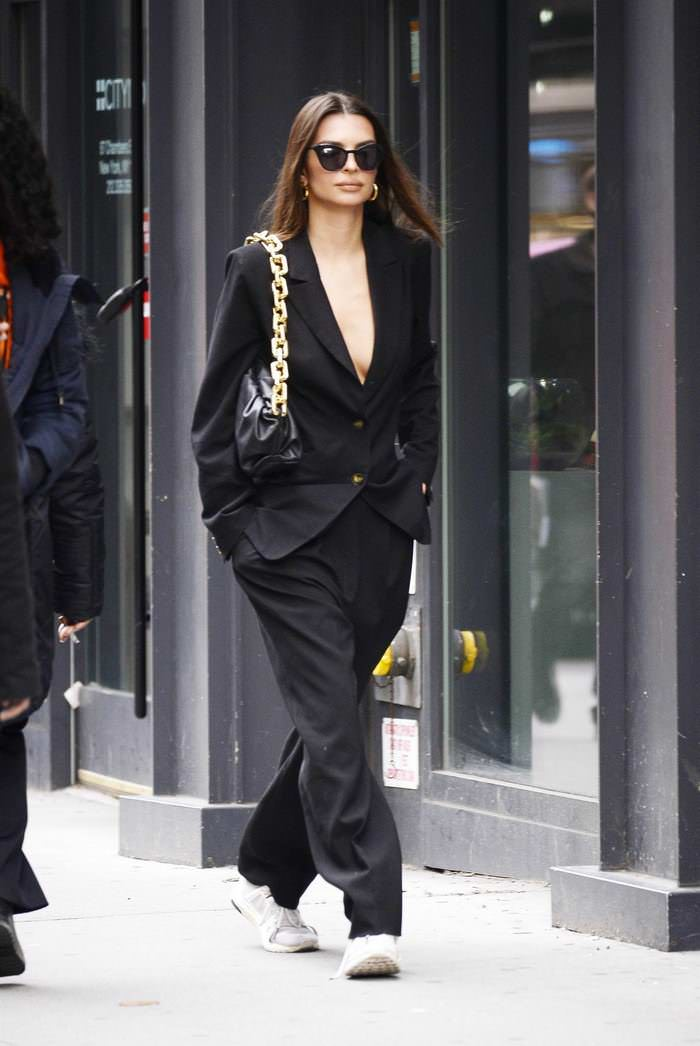 Emily Ratajkowski in Black Blazer with Matching Slacks in NYC