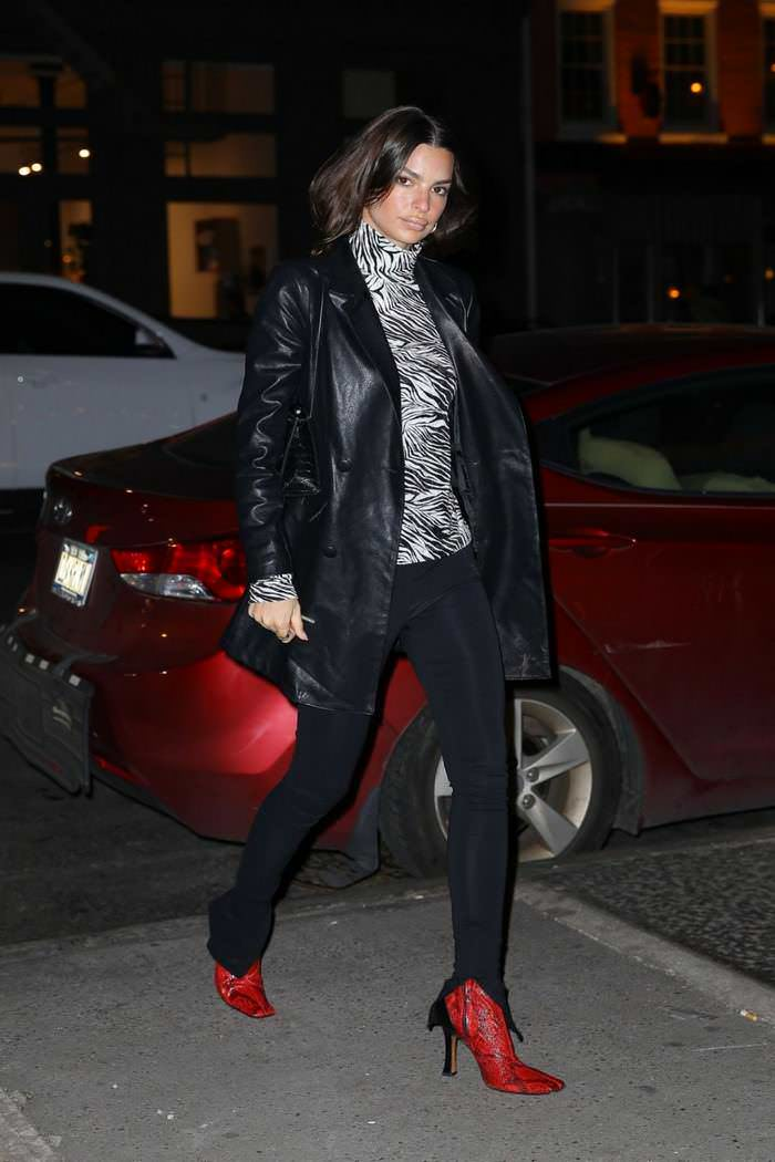 Emily Ratajkowski in Zebra Top With Black Leggings & Red Leather Python Boots in NY