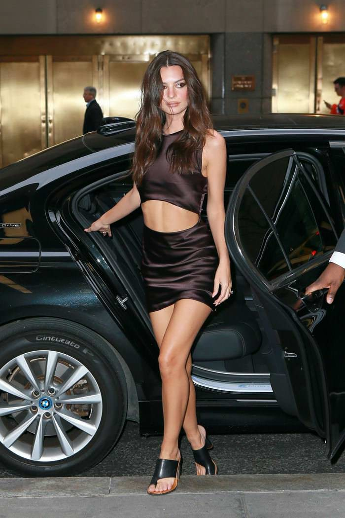 Emily Ratajkowski Out in a Metallic Mini Dress