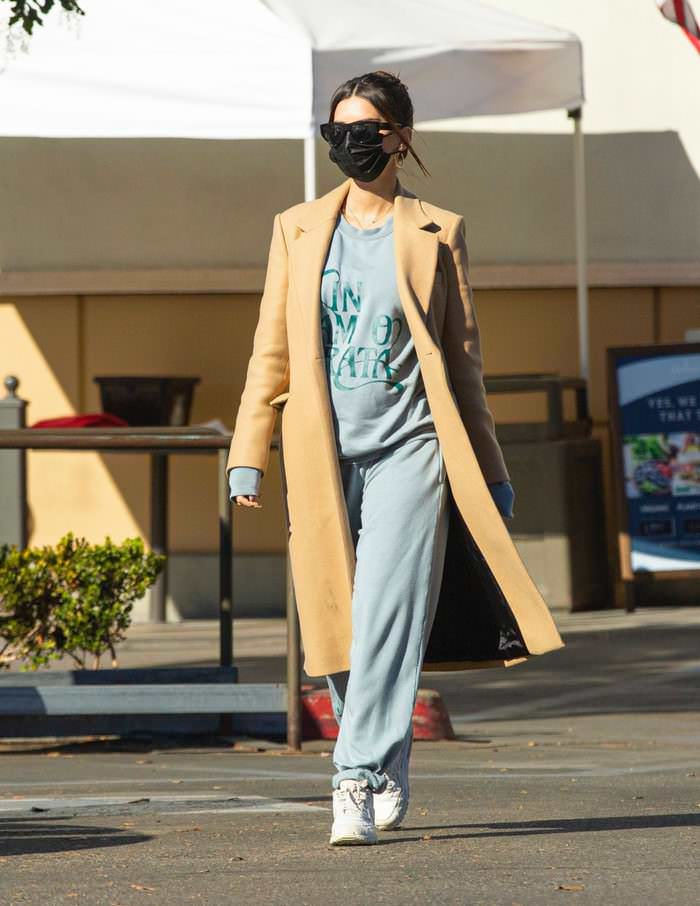 Emily Ratajkowski Out in Baggy Sweats and Winter Coat on a Stroll in LA