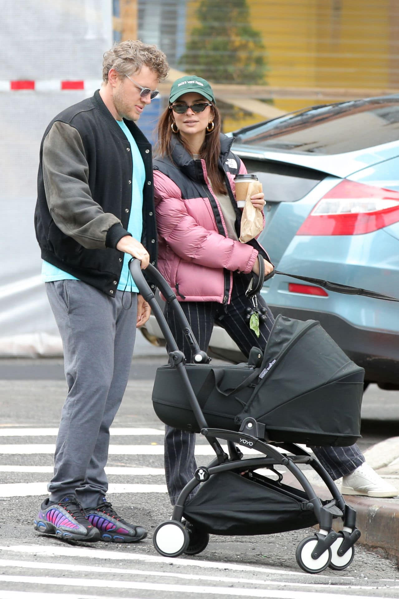 Emily Ratajkowski Out in Soho with Husband and Their Newborn