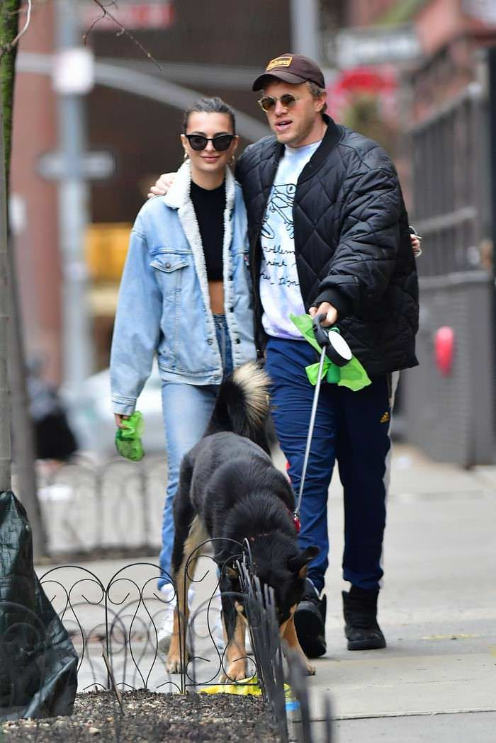Emily Ratajkowski with Husband Walk Their Dog on Empty Streets in NY