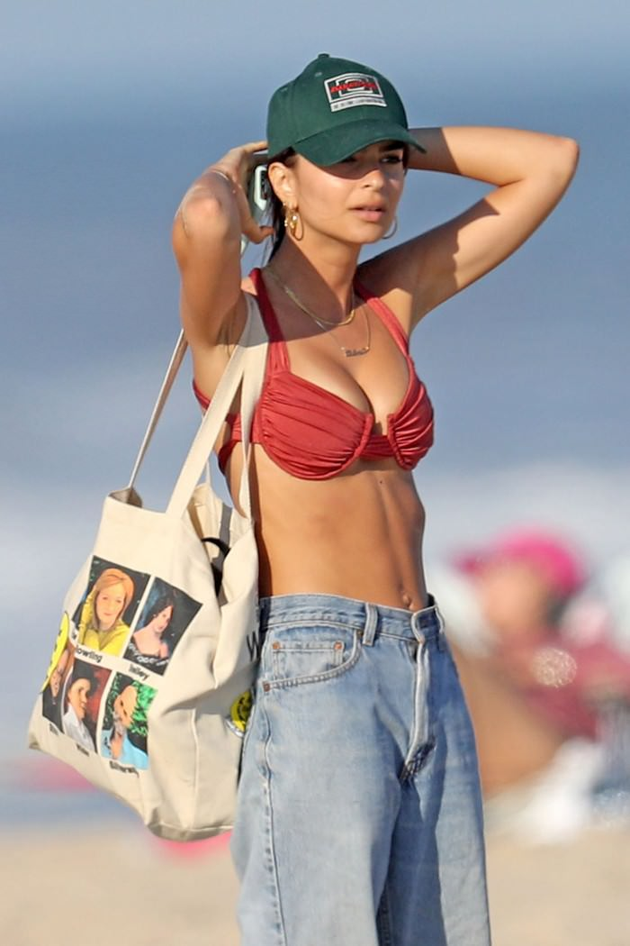 Emily Ratajkowski Wows Beach with her Ruby Red Bikini