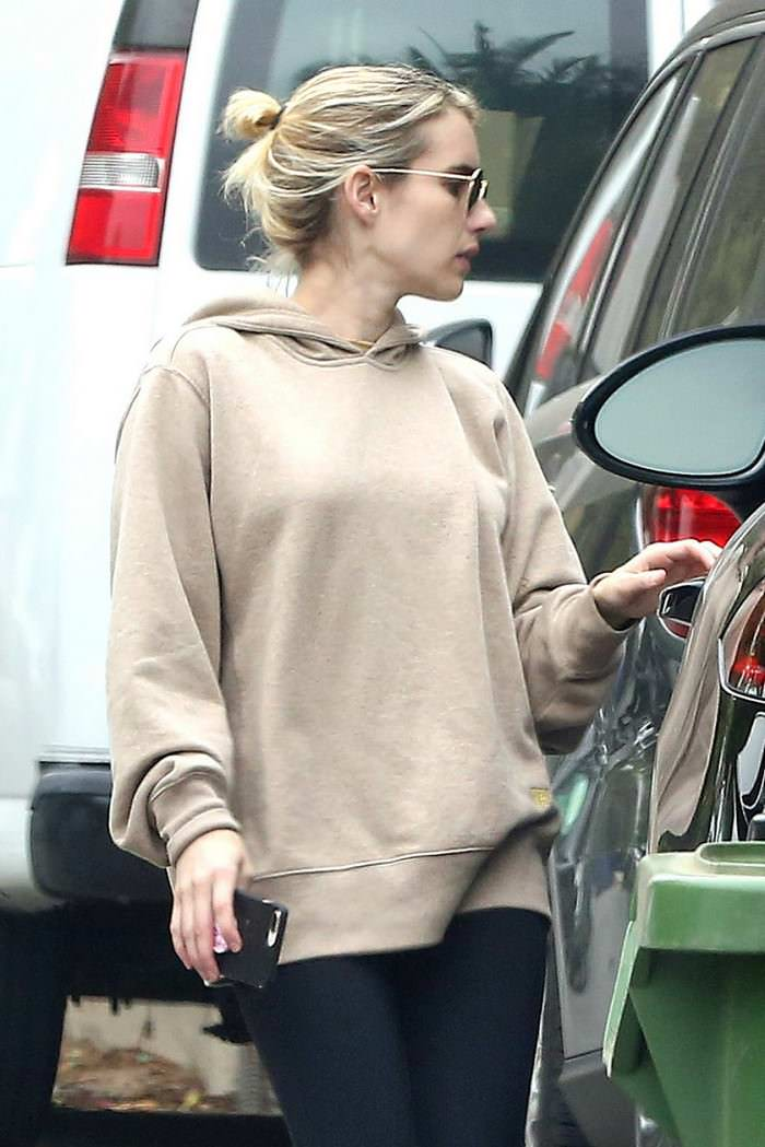 Emma Roberts in a Beige Hoody While Out Shopping in LA