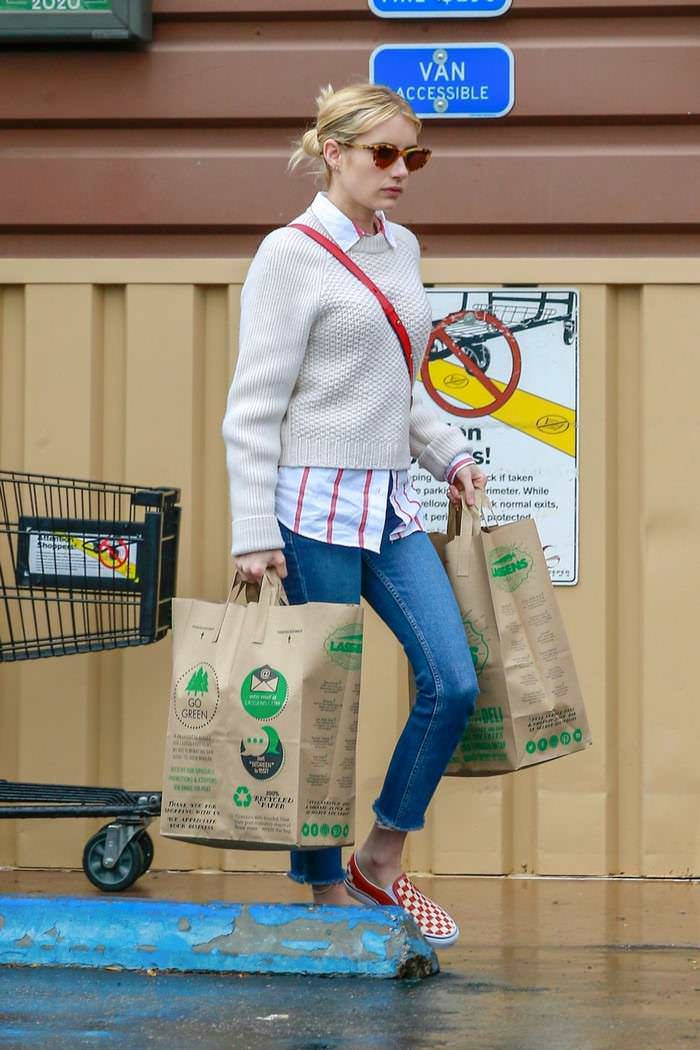 Emma Roberts Shopping for a Self-Quarantine Amid Coronavirus