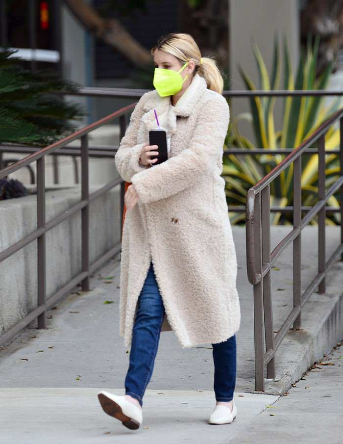 Emma Roberts Shows Off her Casual Side in Skinny Jeans and a Teddy-material Coat