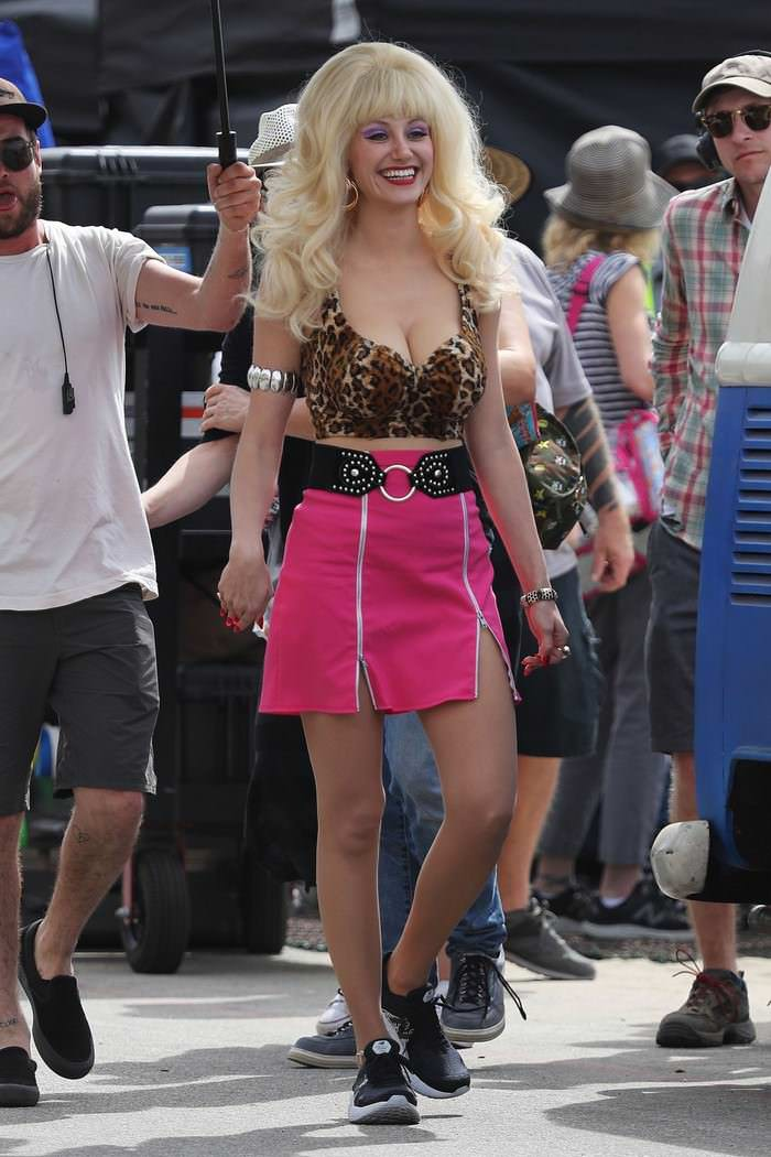 "Emmy Rossum at ""Angelyne"" Set in Malibu"