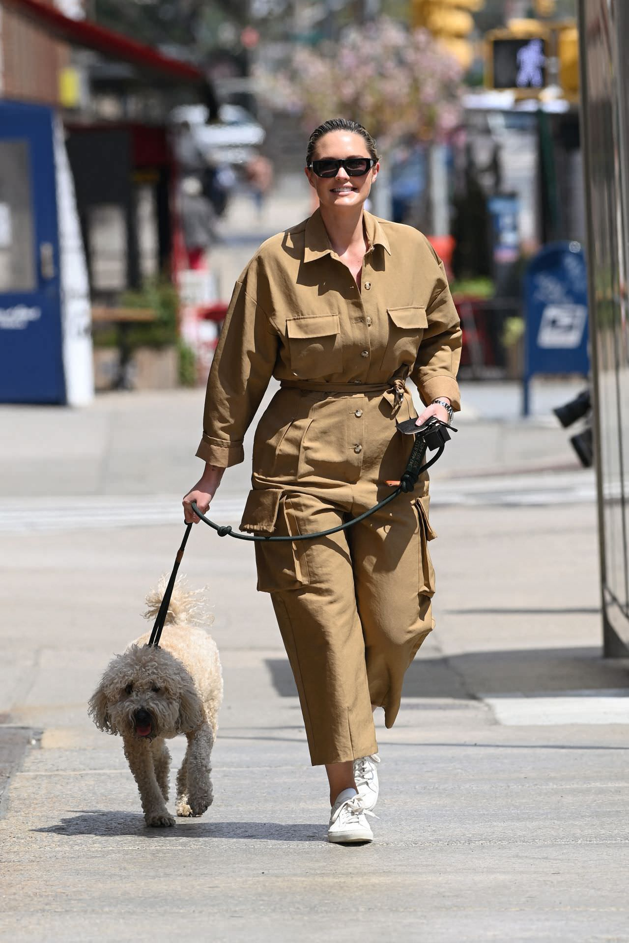 Georgina Burke Takes her Dog Out for a Morning Stroll in NY
