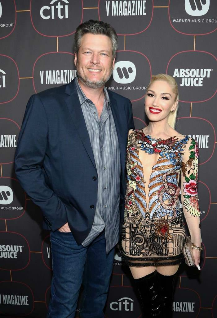 Gwen Stefani Appears Coated in Tattoos in Sheer Dress at Warner Music Group Pre-Grammy Party