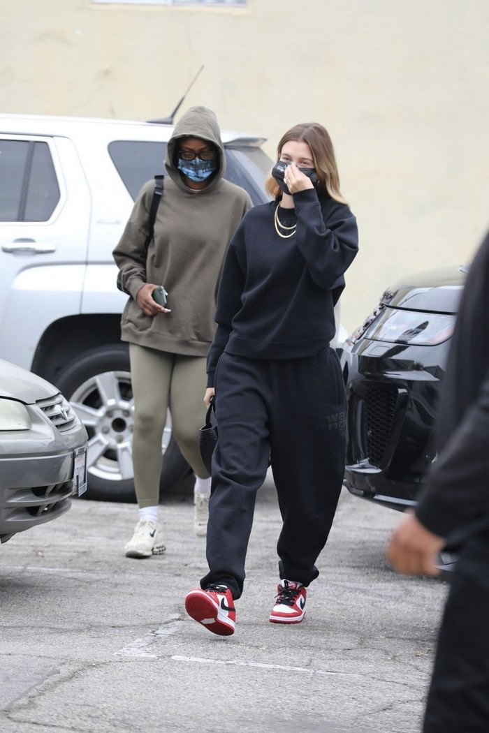 Hailey Bieber Arrives at a Yoga Class in Alexander Wang Sweatsuit in LA