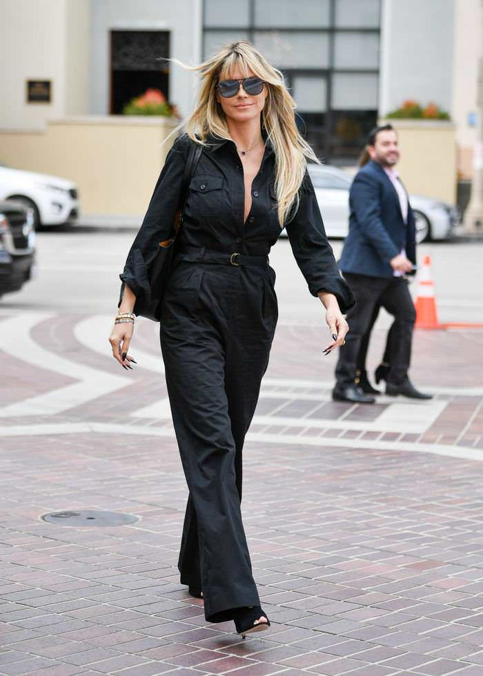 Heidi Klum Arrives in Black Jumpsuit at AGT Taping