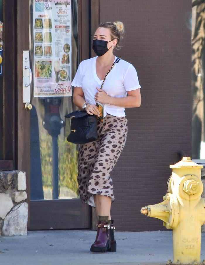Hilary Duff Rocked a Punk Look as She Picks Up the Lunch in LA