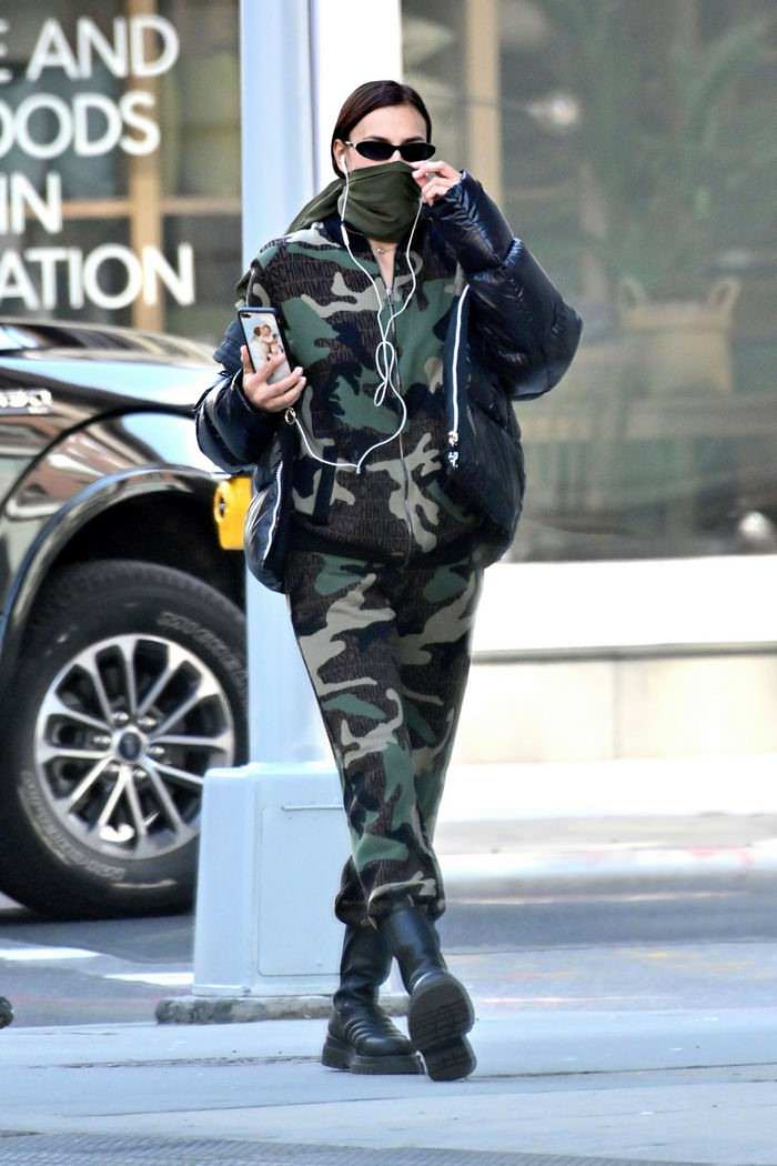 Irina Shayk Chic in a Camouflage Out in New York City