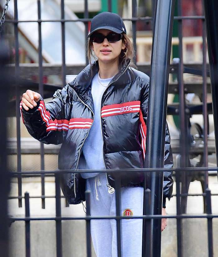 Irina Shayk in a Navy Blue Plain Cap Out in New Jersey